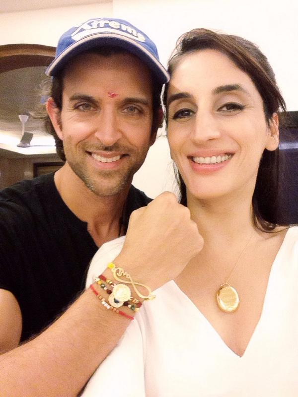 Farah Khan shared this pictures with words With my younger brother Hrithik Roshan . Love you Duggu.