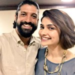Farhan Akhtar selfie with Prachi Desai for her wrap on Rock On 2