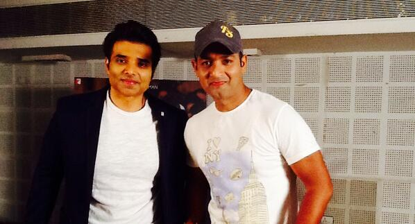 Faridoon Shahryar with Uday Chopra after an interview