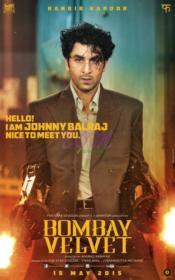 First Poster of Bombay Velvet starring Ranbir Kapoor in Action with guns and bullets.