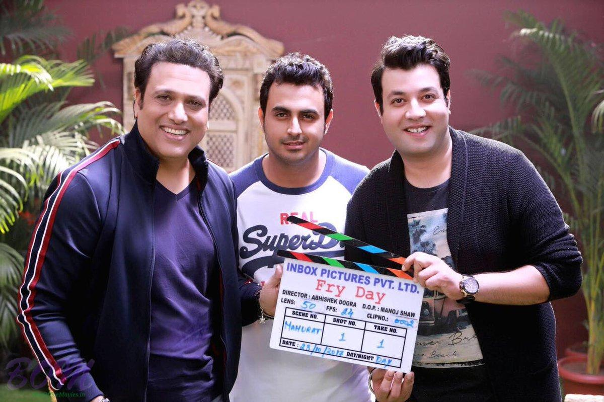 Govinda and Varun Sharma with Fry Day movie clipper