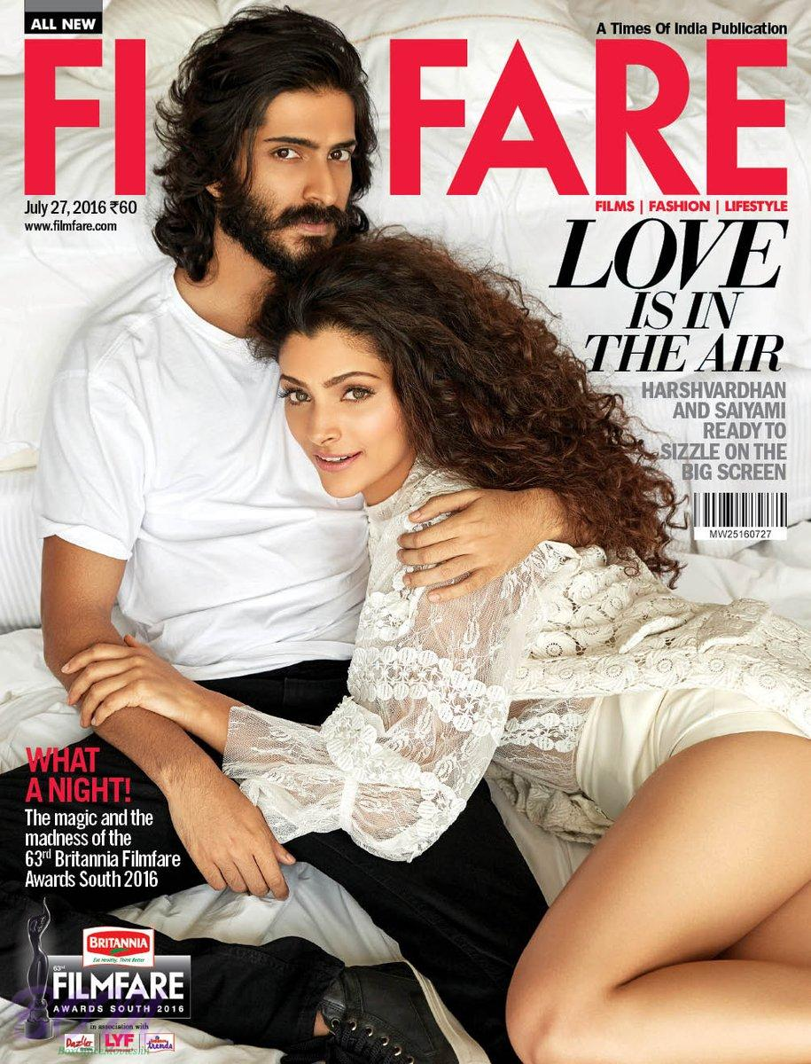 Harshvardhan Kapoor cover boy with cover girl Saiyami Kher for Filmfare July 2016