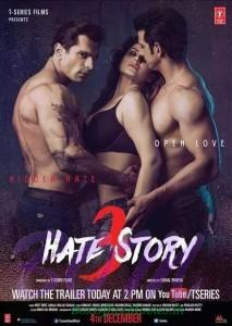 Zareen Khan, Karan Singh Grover and Sharman Joshi Hate Story 3 bold poster
