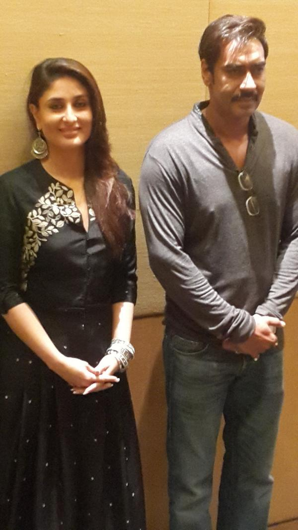 Here's an exclusive picture of Ajay Devgn and Kareena Kapoor from Singham Returns promotional event in Kolkata