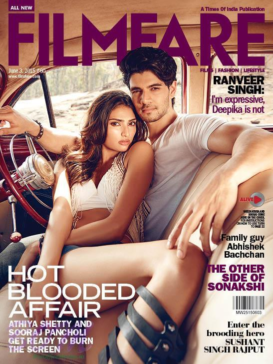 Hero 2015 movie stars Athiya Shetty and Sooraj Pancholi on the cover page of Filmfare June 2015 Issue
