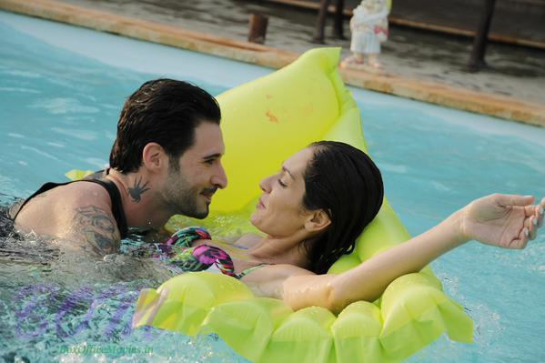 Heroine of Dangerous Husn with Daniel Webber while doing a pool sequence