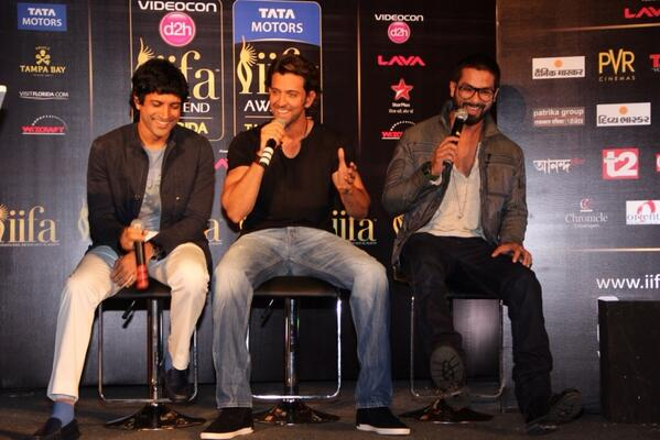 Hrithik Roshan, Shahid Kapoor and Farhan Akhtar address Mumbai media about IIFA Awards, to be held from 23 to 26 April in Tampa Bay, USA