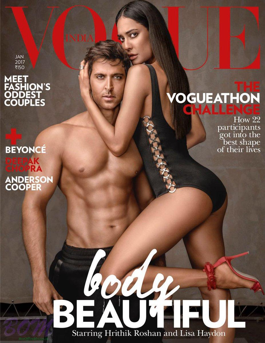 Hrithik Roshan cover boy with Lisa Haydon for Vogue Jan 2017 issue