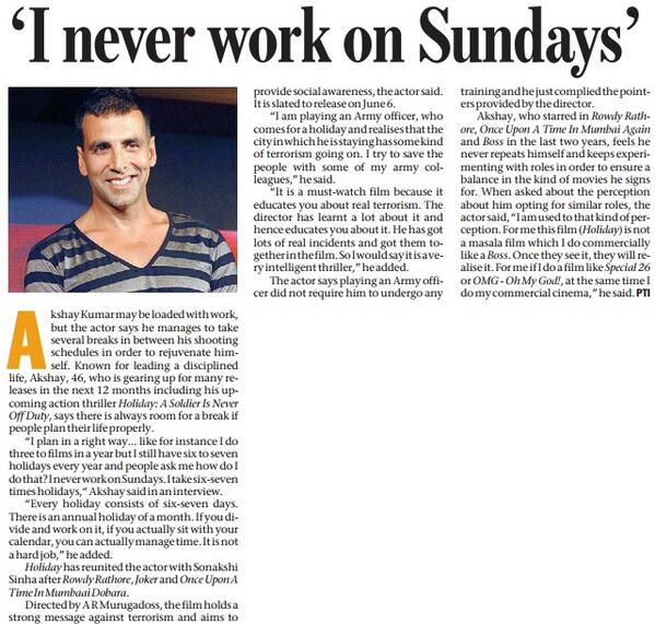 I Never Work On Sundays - Akshay kumar