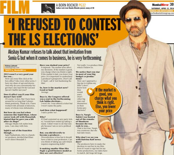 'I Was Offered Ticket For Lok Sabha Elections', but 'I refused to contest The LS elections'  - Akshay Kumar says.