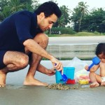 Imran Khan with his baby Imara during in Goa