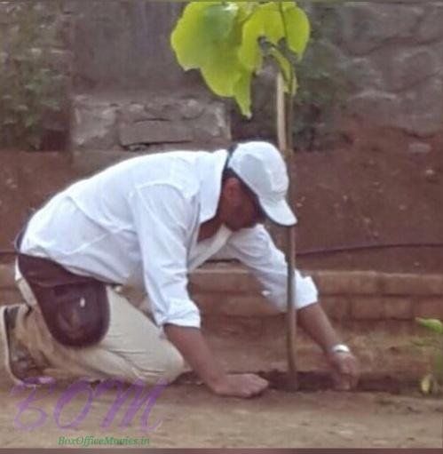 Jackie Shroff ‏planting a tree on world environment day