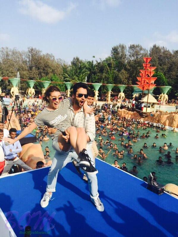 Jackky Bhagnani throwing Lauren Gottlieb in the wave pool