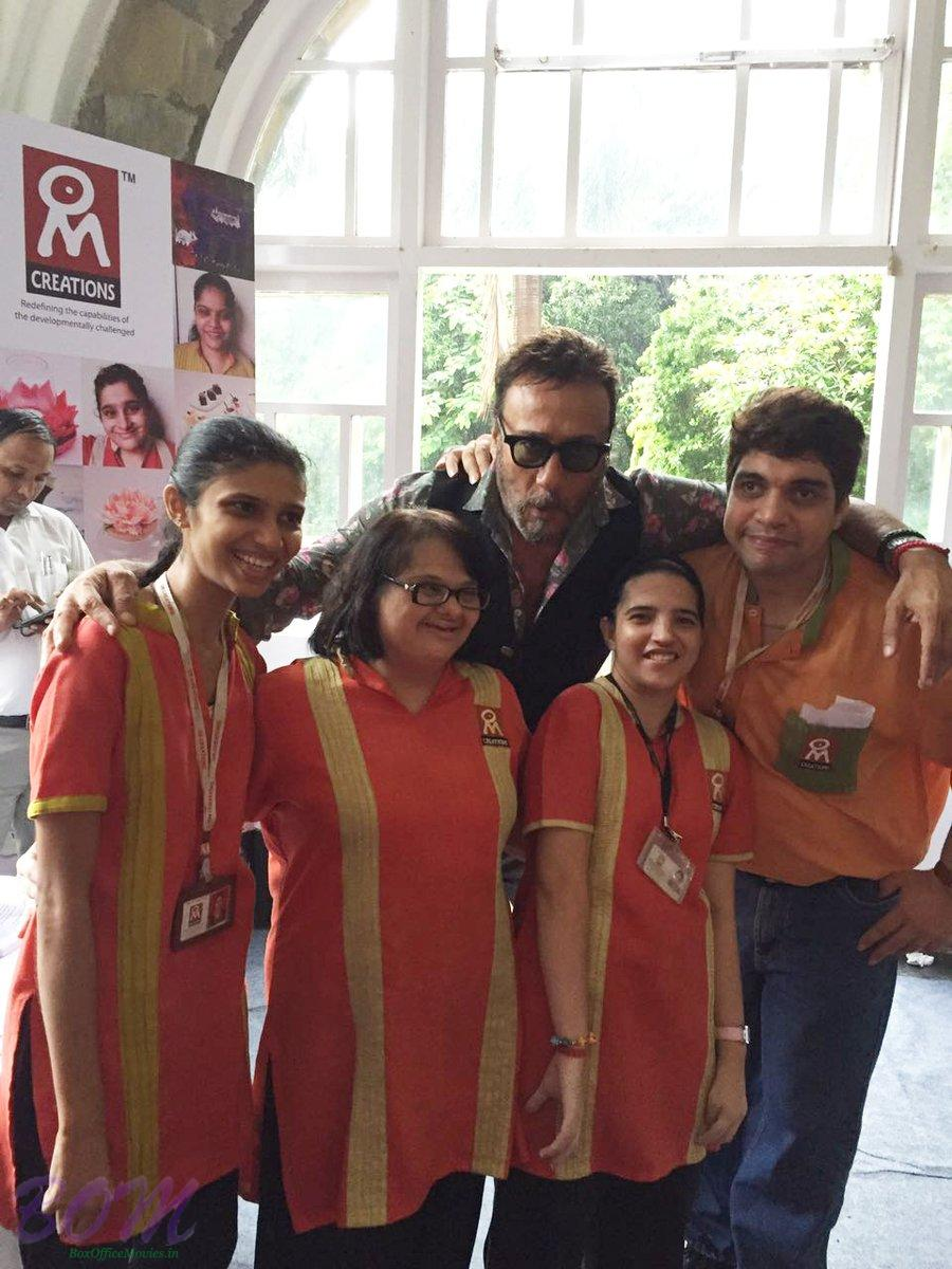 Jakie Shroff with kids of Om Creations NGO