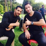 Joan capdevila and John Abraham on the sets of welcome back