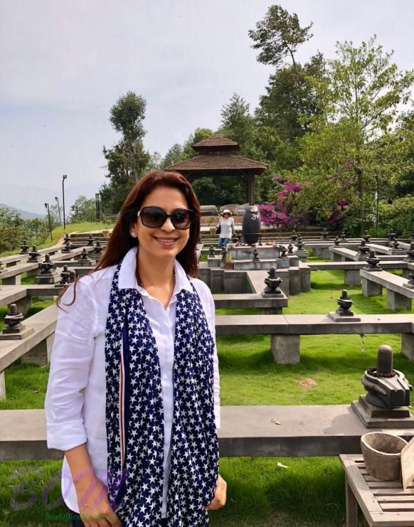 Juhi Chawla with 84 Shivlings located in Dhulikhel at Nepal