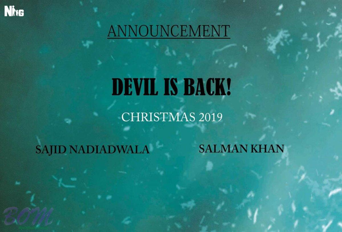 Sajid Nadiadwala to produce KICK2 with Salman Khan to release it by Christmas 2019.