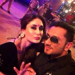 Kareena Kapoor with Yo Yo Honey Singh shooting a song for Singham Returns movie