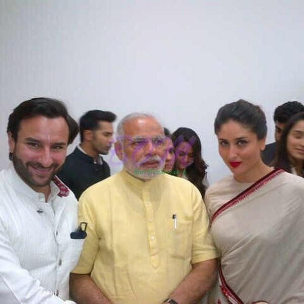 Kareena and Saif with president Modi at Reliance Foundation research center