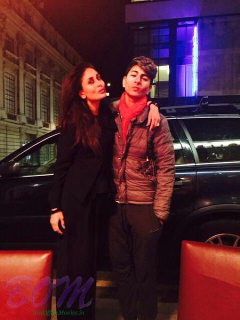 Kareena with Saif's son in London. The entire family is there to celebrate Karisma's birthday