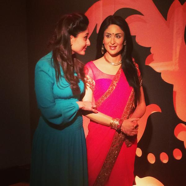Kareena Kapoor visited Madame Tussauds on 18 Aug 2014 to see her restyled figure. She donated the sari for this.