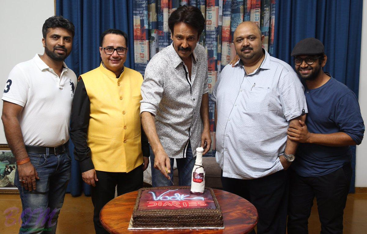 Kay Kay Menon cutting cake on the completion of Vodka Diaries movie
