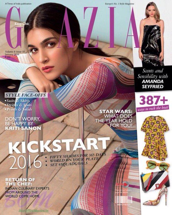 Kriti Sanon cover girl for Grazia India January 2016 Issue cover page