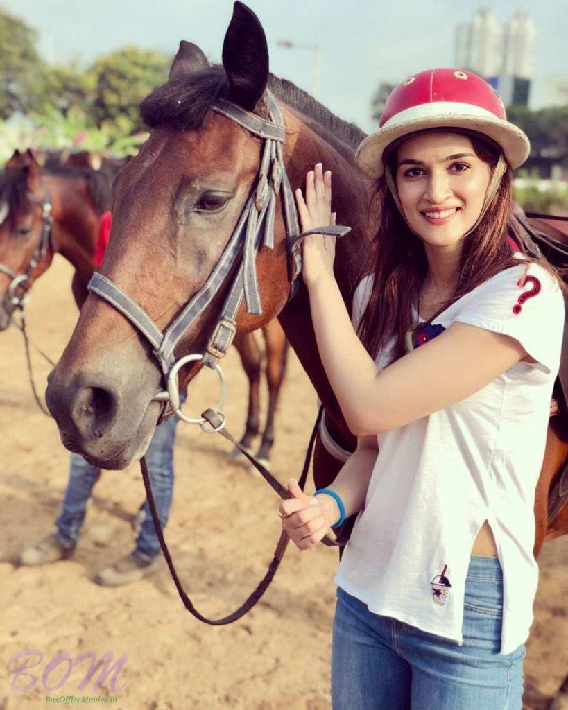 Kriti Sanon while doing a horse riding session for Panipat film