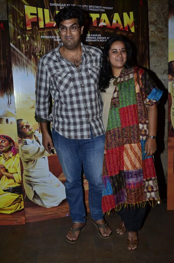 Kunal Roy Kapur with his wife at the Filmistaan Celebrity Screening