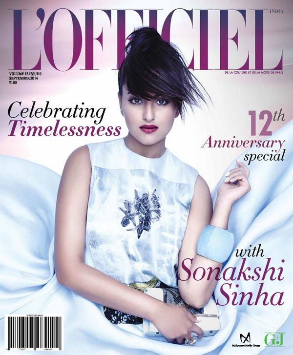 L'Officiel India - 12th Anniversary special. Celebrating Timelessness with Sonakshi Sinha in September 2014 Issue