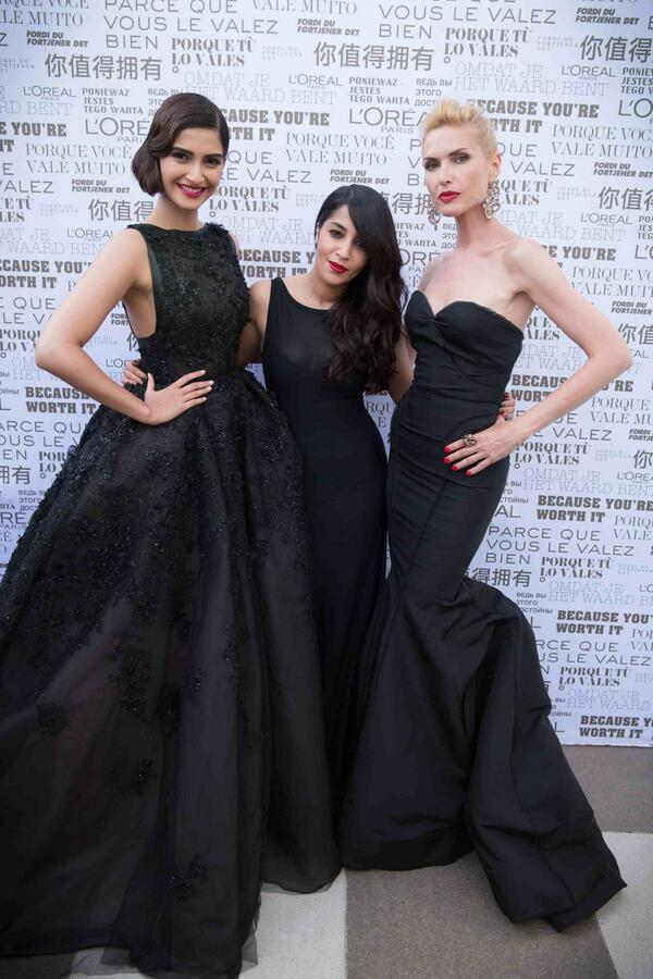 L'Oréal Paris brand ambassadors Sonam Kapoor, Leila Bekhti and Judit Masco at cannes film festival 2014
