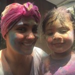 Lara Dutta Bhupati enjoying Holi 2015 with her cute daughter.