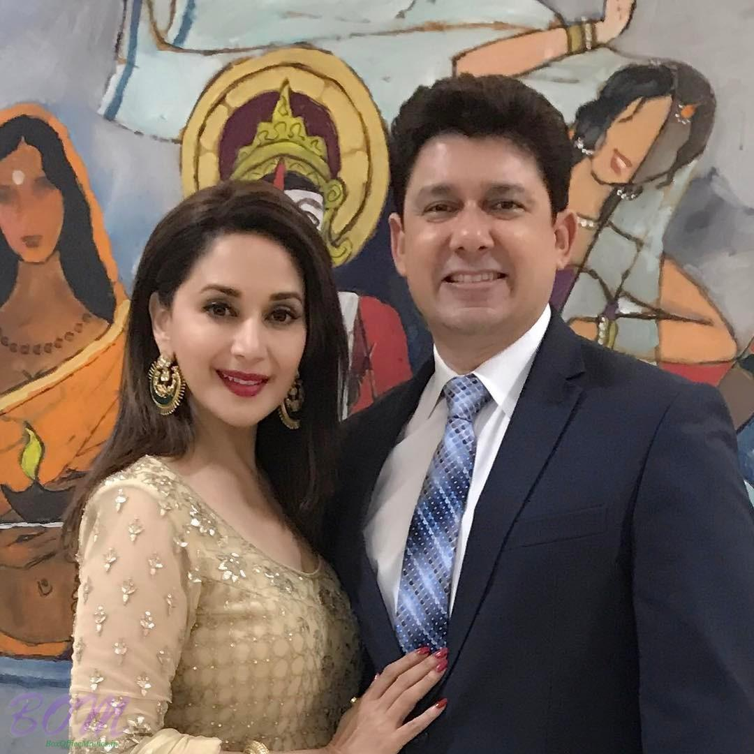 Madhuri Dixit with her husband on February 2017