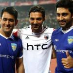 Mahendra Singh Dhoni, John Abraham and Abhishek Bachchan picture together