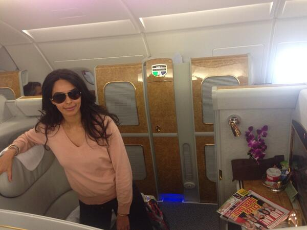 Mallika Sherawat shared this with words 'My private little suite in the airplane'