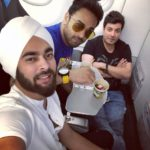 Manjot, Varun and Pulkit chilling in the plane