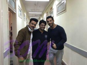 Manoj Bajpayee and John Abraham with Milap Zaveri for untitled movie