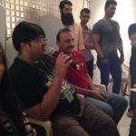 Milap Zaveri directing on day 1 for Mastizaade with the father in law Bharat Parekh