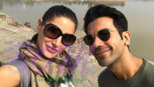 Nargis Fakhri and Rajkummar Rao selfie from Chandigarh
