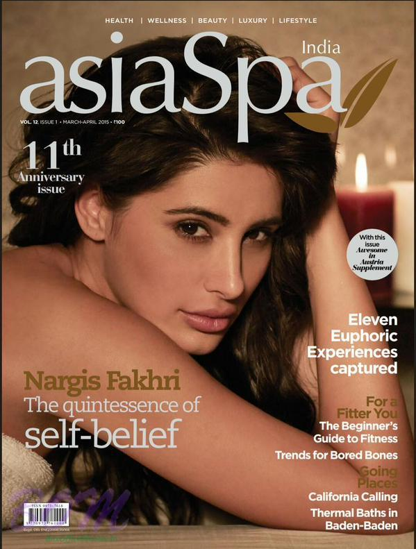 Nargis Fakhri bollywood cover girl for Asia Spa 11th anniversary issue