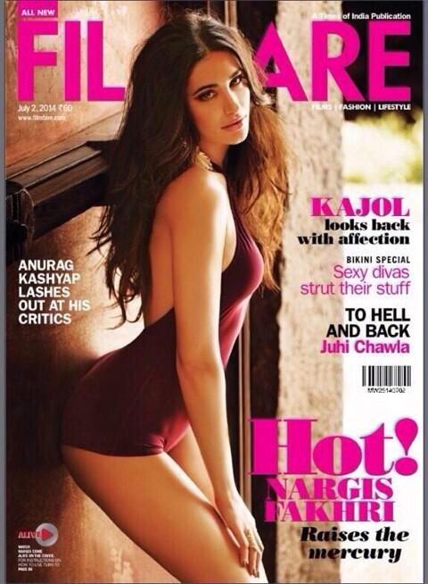 Nargis Fakhri on Filmfare magazine cover page - Issue 2 July 2014