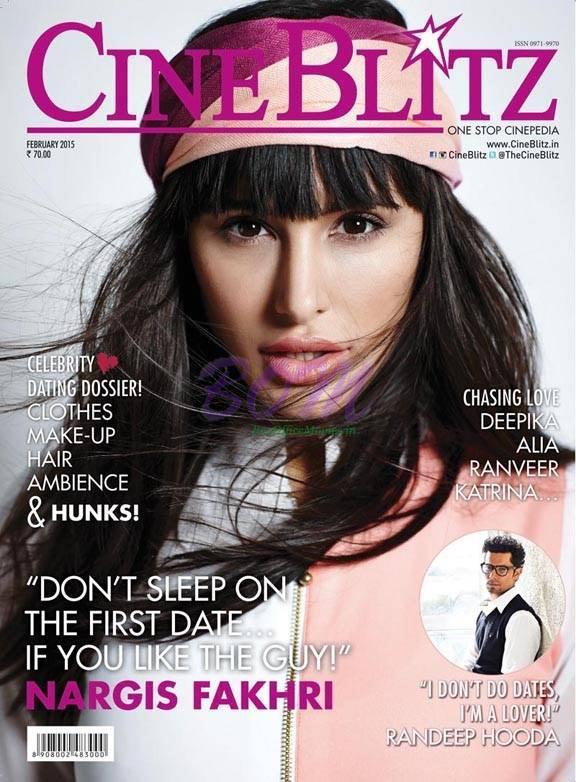 Nargis Fakhri on the cover page of Cine Blitz magazine February 2015 Issue
