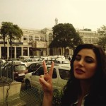 Nargis Fakhri picture while in Delhi Cannaught Place