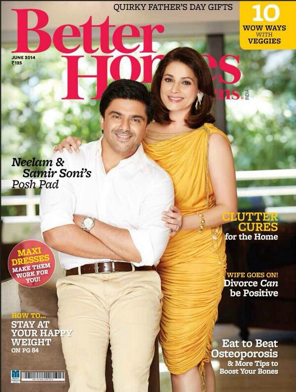 Neelam and Samir Soni on cover page of magazine Better Homes Issue june 2014