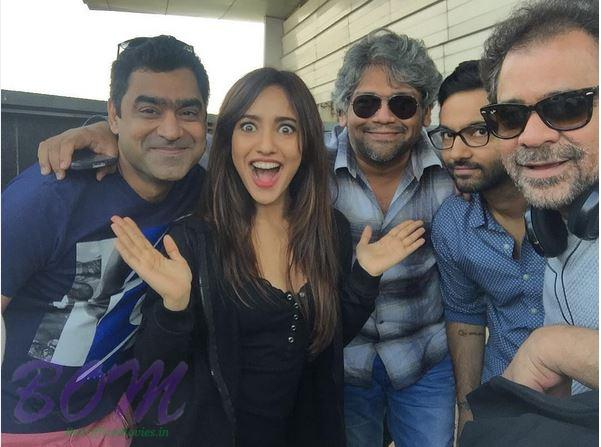 Neha Sharma with the team of Mubarakan after schedule wrap