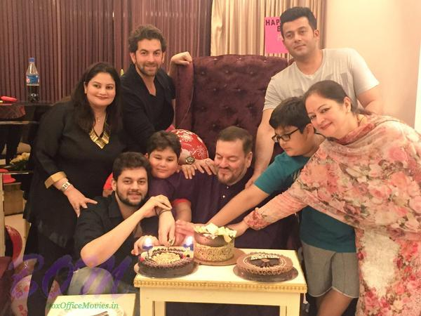 Neil Nitin Mukesh family picture on Dad birthday 2015