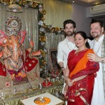 Neil Nitin Mukesh family with Ganapati Ji statue at home