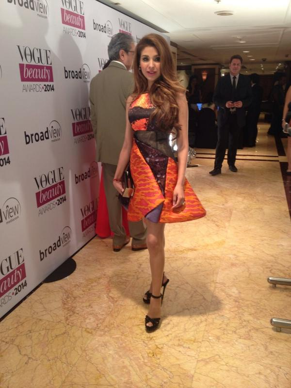 Niamat Bakshi chose a bright Peter Pilotto for the Vogue Beauty Awards red carpet.