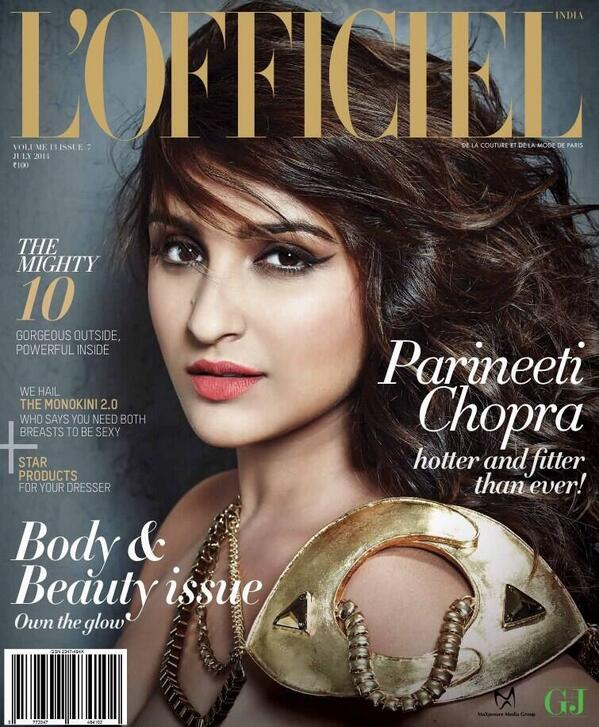 Parineeti Chopra L'OFFICIEL Magazine Cover Page Girl - issue July 2014