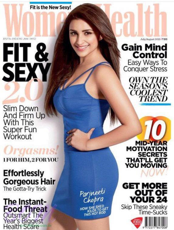 Parineeti Chopra cover girl for Women Health magazine july 2015 cover page